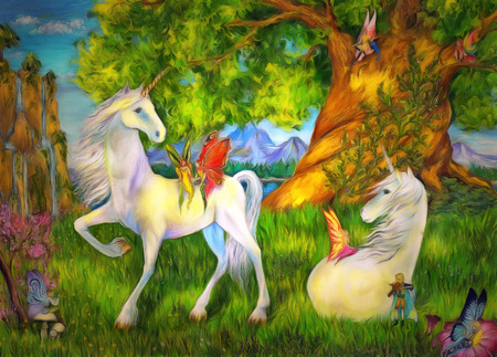 fairy  tail: Unicorns and elves among trees, mountains and waterfalls. Unicorns and elves fairy tail painting. Unicorns and elves illustration.
