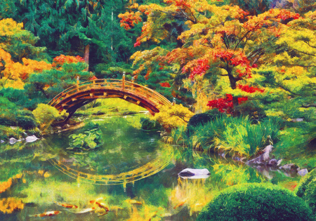 Japanese garden with bridge over a pond. Digital imitation of impressionism oil painting.