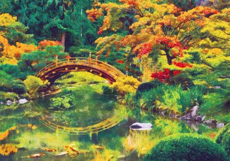 Jardín japonés con el puente sobre un estanque. imitación digital de la pintura al óleo impresionismo.