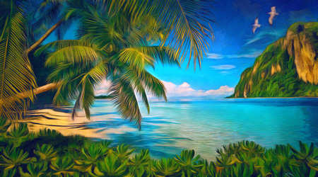 Tropical bay with green plants, palms and mountain. Digital painting. Digital imitation of oil painting.