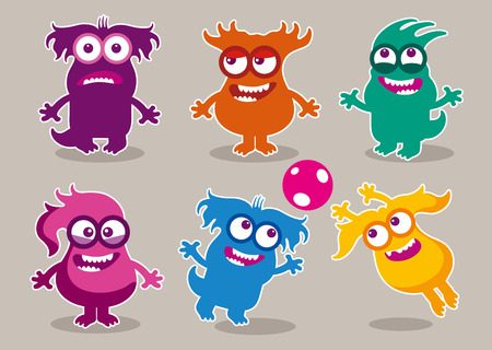 stupid body: Funny monsters with various hairstyles. Vector illustration set of friendly monsters