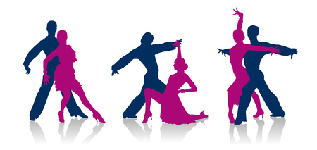 Detailed vector ballroom dancers silhouettes