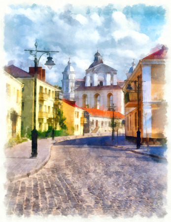 Old town street with lanterns in Lutsk, Ukraine. Digital imitation of watercolor painting
