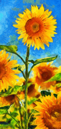 imitation: Sunflowers.Van Gogh style imitation. Digital imitation of post impressionism oil painting.