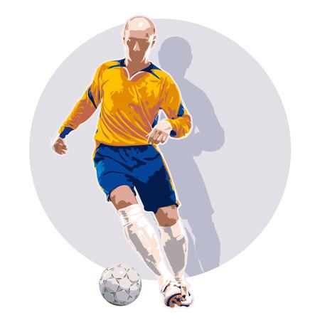 Illustration of soccer player dribbling a ball