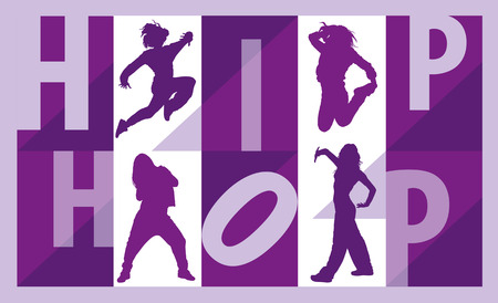 hip hop dance: Silhouettes of girls dancing street dance and hip hop lettering Illustration