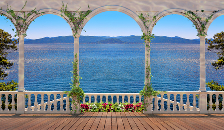 balustrade: Terrace with white colonnade overlooking the sea and mountains