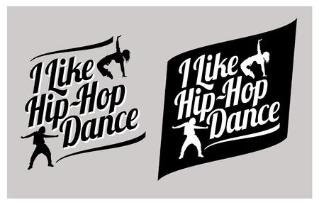Siluetas de las niñas expresivos bailando hip-hop. Me gusta el hip-hop de la danza del vector letras