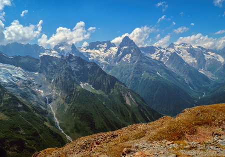 dombay: Mountain peaks and glaciers in Dombay. Western Caucasus mountain chain, Russia