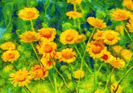 oxeye: Yellow chamomiles on green meadow. Digital imitation of post impressionism oil painting.