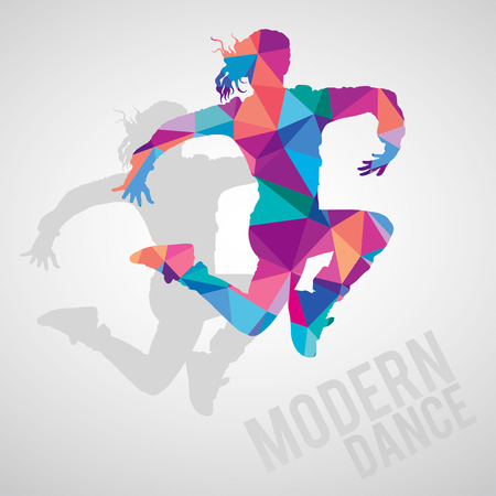 modern  dance: Colorful silhouettes of sportive girl dancing modern dance styles. Modern dance lettering. Multicolored detailed vector silhouette.