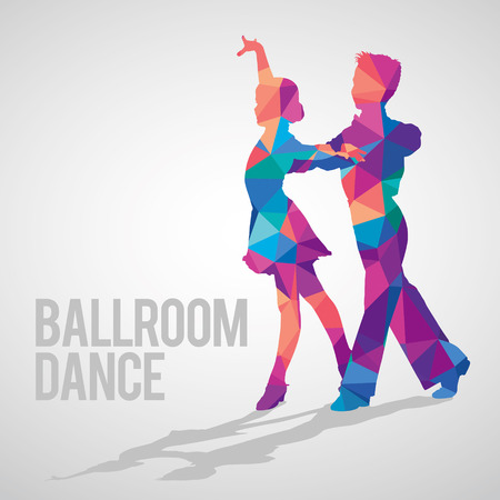 Silhouettes of kids dancing ballroom dance. Multicolored detailed vector silhouette of young ballroom dancers. Illustration