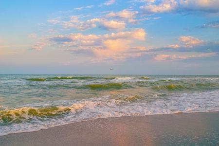 ashore: Sea of Azov coastline at sunset. Panoramic view of sea waves rolling ashore at summer evening.