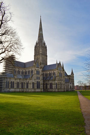 Salisbury cathedral at early morning. Salisbury cathedral church of the Blessed Virgin Mary, Wiltshire, England Stock Photo