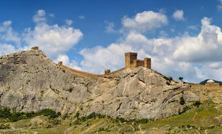 Medieval Genoese fortress in Sudak, Crimea. Panoramic exterior view of Sudak fortress Stock Photo