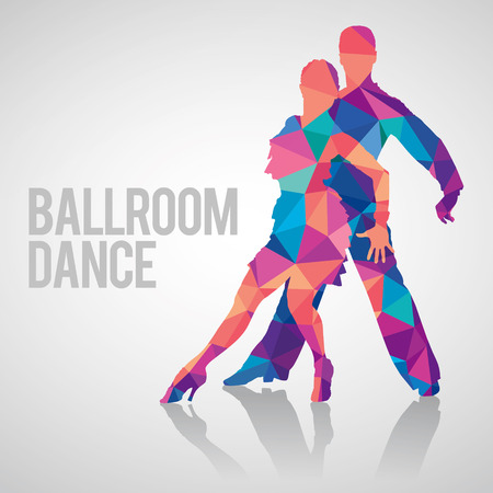 Silhouettes of couple dancing ballroom dance. Multicolored detailed vector silhouette of ballroom dancers.