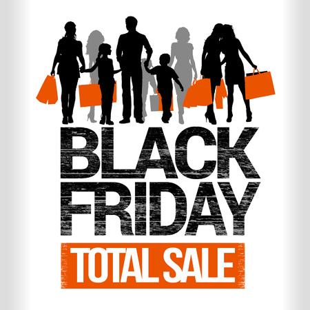 Black Friday total sales lettering. Family shopping detailed silhouettes. Girls with shopping bags silhouettes.