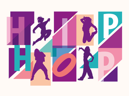 Detailed silhouettes of girls dancing among hip hop lettering. Multicolored silhouettes of girls dancing modern styles