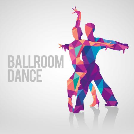 Siluetas detalladas de la danza de salón de baile de pareja. Silueta multicolores del vector poligonal de los bailarines del salón de baile.