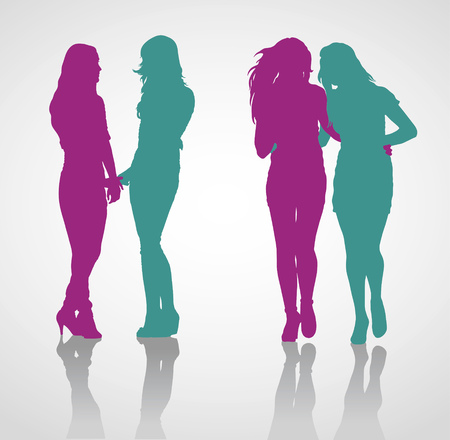 relationships human: Detailed vector silhouettes of girlfriends