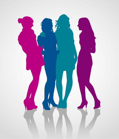 Group of girlfriends talking to each other. Detailed vector silhouettes of teenager girls.