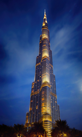DUBAI, UAE - JANUARY 20: Night view of Burj Khalifa aka Burj Dubai, at 828 m (2,717 ft) on January 20, 2017 in Dubai, UAE.