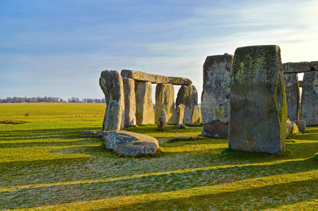 Stonehenge prehistoric monument, Wiltshire county, England. Early morning view of Stonehenge monument