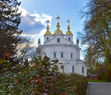 Assumption Cathedral in Poltava, Ukraine. Eastern facade of Assumtion Cathedral in Poltava, flowering bushes at foreground Stock Photo