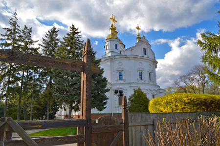 Eastern facade of Assumption Cathedral in Poltava, Ukraine. Wooden carved gates and flowering shrubs at foreground