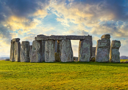 Majestic Stonehenge prehistoric monument in Wiltshire, England. Early evening view of Stonehenge monument