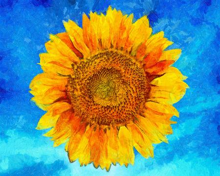 Sunflower on vibrant blue background. Sunflower Van Gogh style imitation. Digital imitation of post impressionism oil painting.