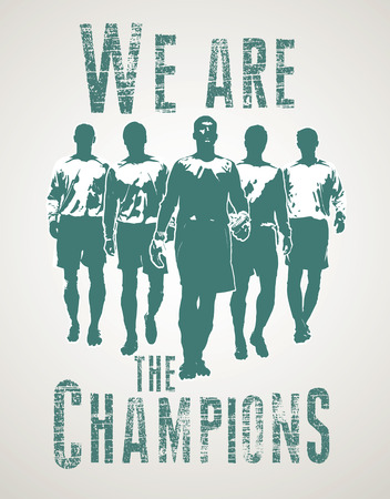 Soccer team players preparing for the football match. Football players inside We are the champions lettering Illustration