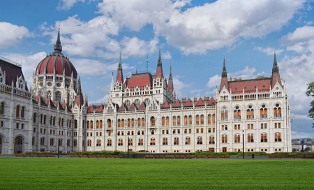 Courtyard of the Parliament building in Budapest, Hungary.