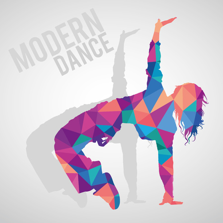 Colorful polygonal silhouette of a girl dancing.
