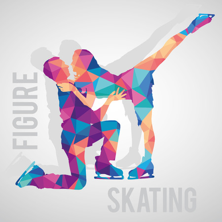 skaters couple polygonal silhouettes.