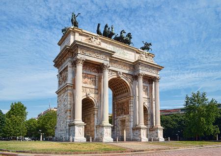 Arch of Peace in Sempione Park, Milan, Lombardy, Italy. Arco della Pace aka Porta Sempione in Milan, Italy.