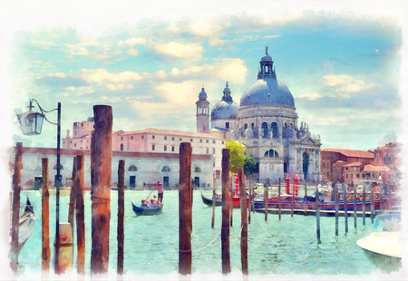 View on Canal Grande with Basilica di Santa Maria della Salute in the background, Venice, Italy. Gondolas on Grand Canal watercolor painting.