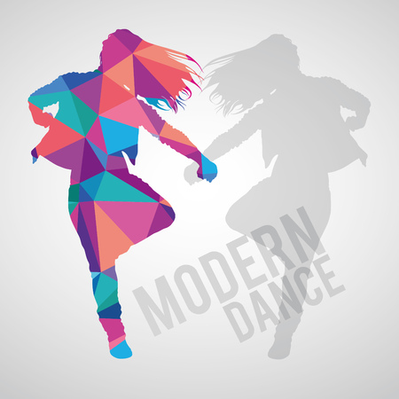Colorful polygonal silhouette of sportive girl dancing modern dance. Modern dance lettering. Multicolored polygonal detailed vector silhouette. Stock Illustratie