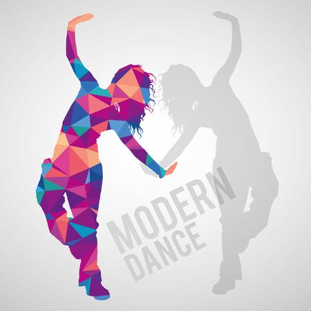 Colorful polygonal silhouette of sportive girl dancing modern dance. Modern dance lettering. Multicolored polygonal detailed vector silhouette. Stock Illustratie