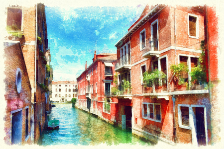 Colorful facades of old medieval houses in Venice, Venice, Italy. Picturesque view of Venetian canal, watercolor painting.