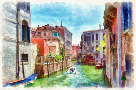 Picturesque view of narrow Venetian canal with boats, digital imitation of watercolor painting. Colorful facades of old medieval houses over a canal in Venice, Italy.