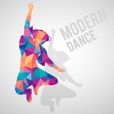 Colorful polygonal silhouette of jumping girl dancing modern dance. Modern dance lettering. Multicolored polygonal detailed vector silhouette.
