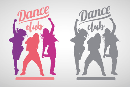 Silhouettes of expressive girls dancing modern dance styles. Vector illustration of dancers with dance club lettering above