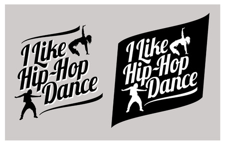 Silhouettes of expressive girls dancing hip-hop. I like hip-hop dance vector lettering Stock Illustratie