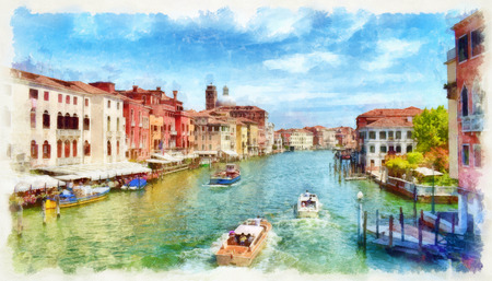 Picturesque view of Venetian Grand Canal with boats, digital imitation of watercolor painting. Colorful facades of old medieval houses over a canal in Venice, Italy.