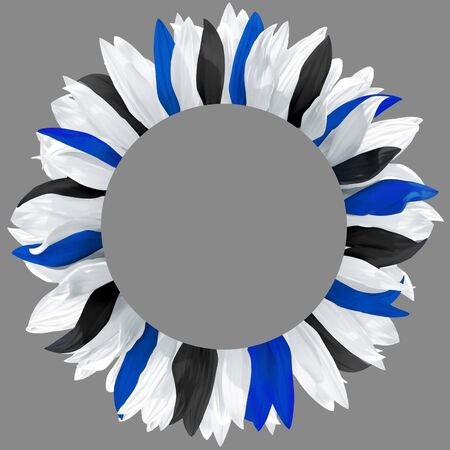 Circle frame, decorated with petals in colors of Estonia flag. Wreath made of black, white, blue petals