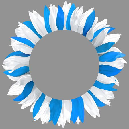 Circle frame, decorated with petals in colors of Argentine, Uruguay flag. Wreath made of white, blue petals