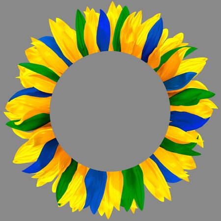 Circle frame, decorated with petals in colors of Brazil flag. Wreath made of yellow, blue, green petals