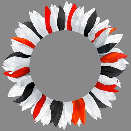 Circle frame, decorated with petals in colors of Egypt flag. Wreath made of white, black, red petals