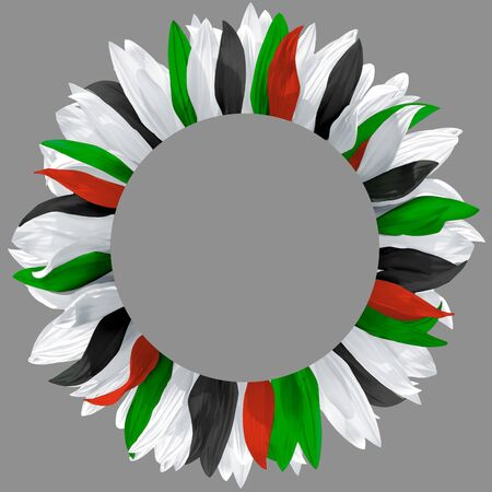 Circle arrangement, made of flower petals in colors of  UAE, Kuwait, Palestine, Syria, Jordan, Iraq flags. Wreath made of green, red, white and black petals